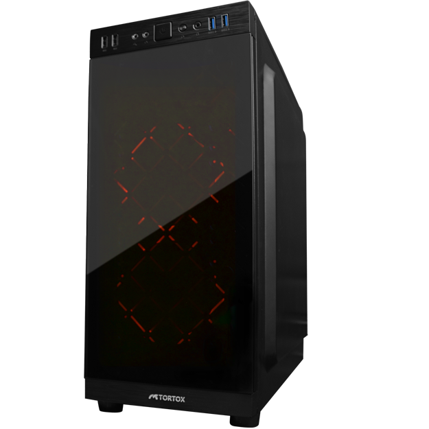 TORTOX NEON TEMPERED GLASS FRONT PANEL RED LED FAN COMPUTER CASE