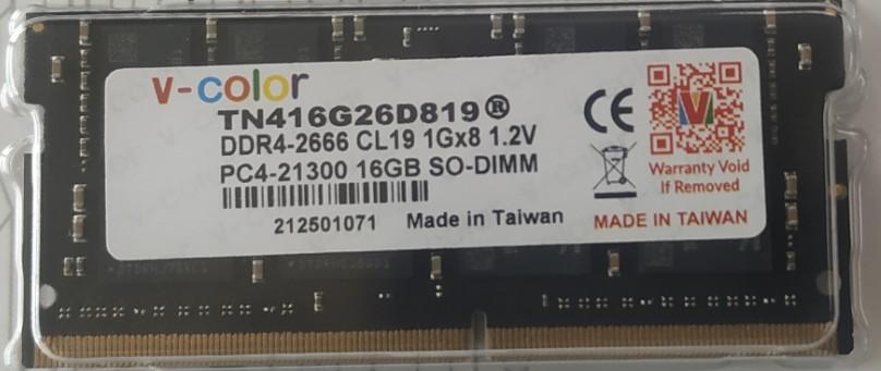 V-COLOR DDR4 16GB 2666MHz SO-DIMM