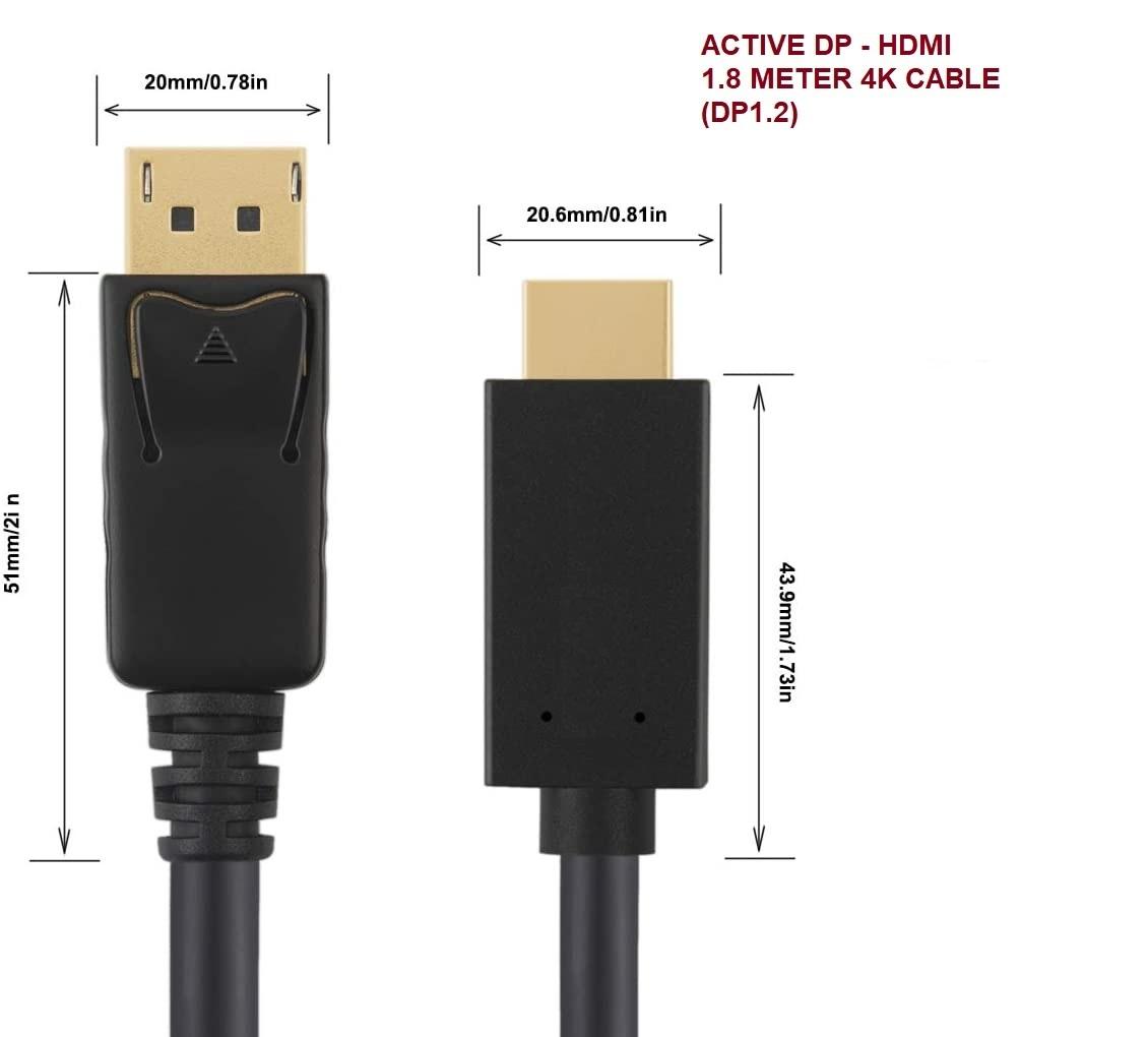 Tortox DisplayPort - HDMI 4K 1.8 Meter Cable