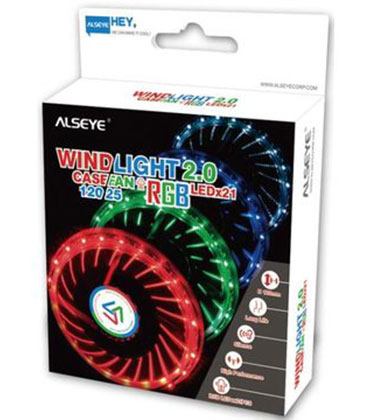Wind light 2.0 120mm computer case cooling fan RGB fan with 21 LED lights